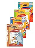 img - for Pre K Workbooks Set of 4 Activity Books, Learn; Letters, Colors, Shapes, Numbers, Counting, Reading and the Alphabet. Playskool Pre-k and Kindergarten Books, Teach Young Kids, Math, Language, and Basic Skills. Toddlers Can Begin to Learn, Letters & Sounds, Pre-reading Skills, Lowercase & Uppercase Letters, and Writing, Primary & Secondary Colors, Color Name Recognition, Identify Basic Shapes, and Recognize Shape Names, Concept of Numbers, Write Numbers, Identify Number, and Counting Skills book / textbook / text book