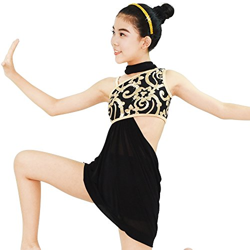 Contemporary Dance Costumes Black (MiDee Lyrical Dress 2 Pieces Dance Costumes Floral Sequins Highlow Neck Side Waist Open Drap Skirt (SA, Black))