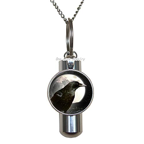 Ni36uo0qitian0ozaap Fashion Charm Full Moon Crow Round Lobster Clasp Cremation URN Necklace,Men's and Women's Lobster Clasp Cremation URN Necklace,TAP246