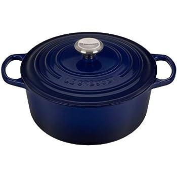 Le Creuset of America LS2501-2678SS Signature Round Dutch Oven, 5.5 qt, Indigo