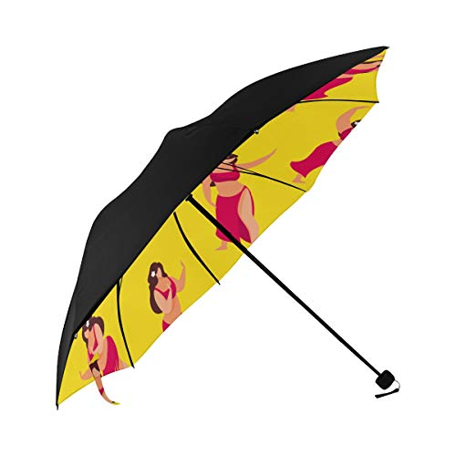 (Grass Skirt Tropical Style Sexy Compact Travel Umbrella Sun Parasol Anti Uv Foldable Umbrellas(underside Printing) As Best Present For Women Sun Uv Protection)