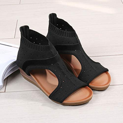 Clearance! Hot Sale! ❤ Women Ethnic Style Sandals Roman Shoes Platform Wedge Sandals Gladiator Shoes 2019 Summer Beach Platform/Wedge/High Heel Sandals Slippers for Girls Women Ladies by YEZIJIN_Women's Sandals (Image #4)