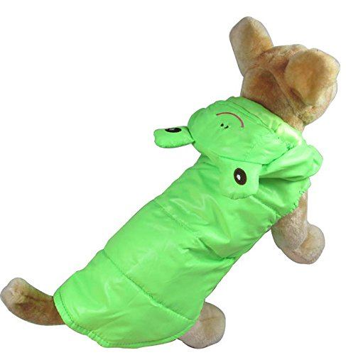 SMALLLEE_LUCKY_STORE Pet Cat Dog Green Frog Costume Windproof Coat Jacket Vest Small Dog Clothes M