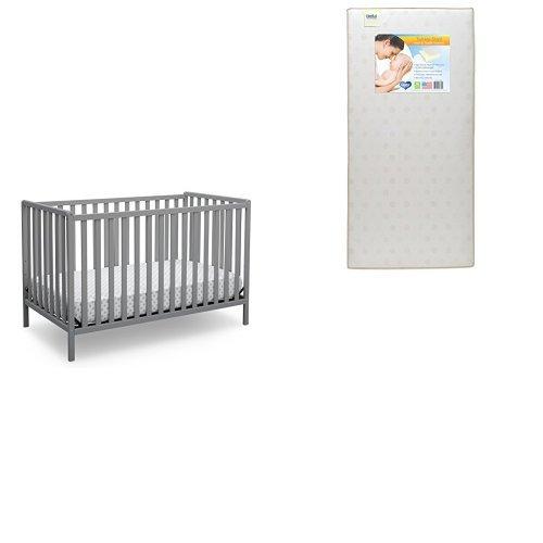 Delta Children Heartland 4-in-1 Convertible Crib, Grey with Twinkle Stars Crib & Toddler Mattress