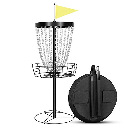 Yaheetech Disc Golf Basket Target, 24-Chain Portable Metal Golf Goals Baskets W/Carrying Bag Practice Set 7 Strand Coated Chain