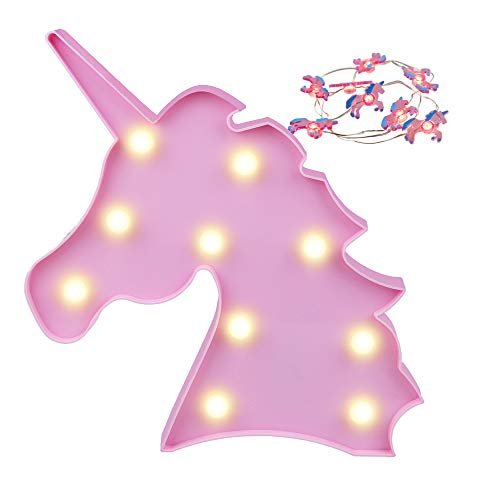 Pooqla LED Night Light Lamp Kids Marquee Letter Lights Unicorn Shape Signs Light Up Christmas Party Wall Decoration Battery Operated (Pink)