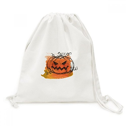 Hand Painted Pumpkin Of Halloween Canvas Drawstring Backpack Travel Shopping (Halloween Painted Pumpkins)