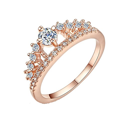 Alonea Womens Crown Tiara Rings Exquisite Princess Tiny Diamond Promise Rings For Her Size 6-9 (Rose Gold 6)