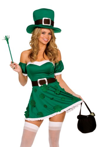 Dreamgirl Women's Spank Me I'm Irish Costume, Green, Large (Sexy Corset Costumes)
