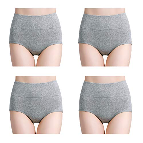 wirarpa Womens Cotton Underwear High Waisted Full Coverage Brief Panties 4 Pack Ladies Comfort No Muffin Top Underpants Heather Gray, Size 6 (Maternity Panties High Cut)