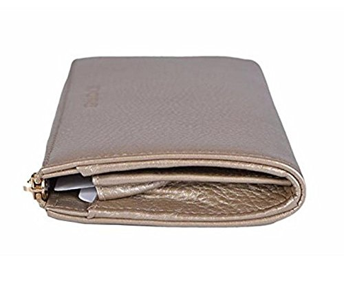 f5ed49c91f76 Gucci Women's Pebbled Leather Quarter Zip Wallet 332747 9504 Metallic  Golden Beige