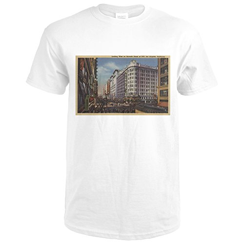 Los Angeles, CA - View Of Warner Bros. On 7th ST. (Premium White T-Shirt - Ca Angeles 7th Los St