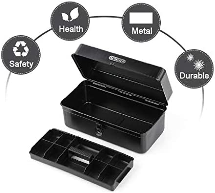 Wilk Metal Barn Tool Box, Portable Steel Toolcase Hardware Repair Tool Storage Box with Tray Lockable Carrying Tool Box - Black