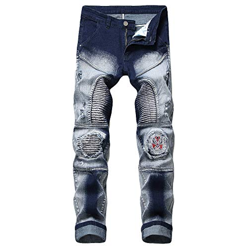 NUWFOR Men's Fashion New Printed Individual Jeans Making Old Printed Trousers Pant(Blue,US:36/AS:XXXXXXL Waist:38.0″)