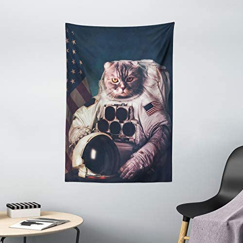 Ambesonne Space Cat Tapestry, Vintage Image Astronaut Kitty with American Flag Patriot Animal, Wall Hanging for Bedroom Living Room Dorm Decor, 40 X 60 , Blue White