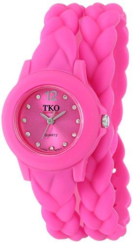 TKO Women's Thin Double Wrap Pink Wraparound Braided Teen Girl Girls Watches TK646FS