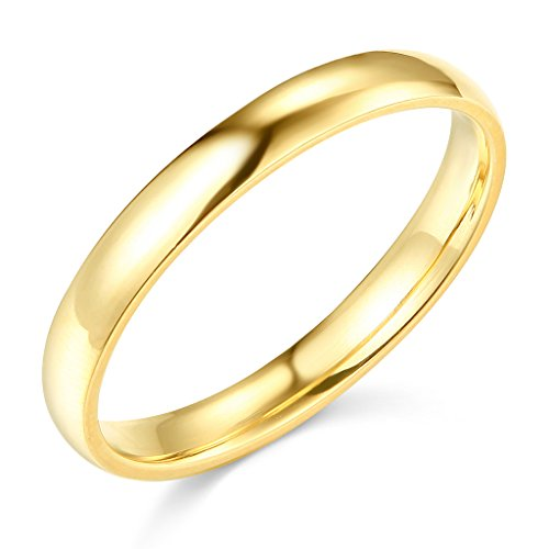 14k Yellow Gold 3mm SOLID Plain Wedding Band - Size 9 ()