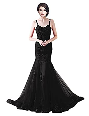 Sarahbridal Women's Tulle Mermaid Prom Dress Spaghetti Straps Evening Party Gowns SXRK002