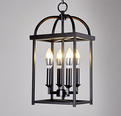 Top Lighting Antique Black finish 4-light Hanging Lantern Iron Frame Pedant Chandelier (Antique Iron Finish Chandeliers)