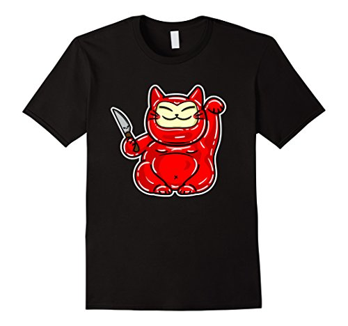 Mens Maneki Neko Evil Twin Brother, El Malo Gatito The Bad Kitty XL Black