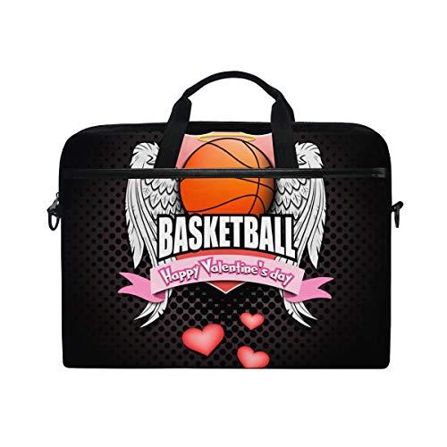 (PENGTU 15-15.4 Inch Laptop Bag Saint Valentine Day Pattern Basketball Logo Shoulder Messenger Bags Sleeve Case Tablet Briefcase with Handle)