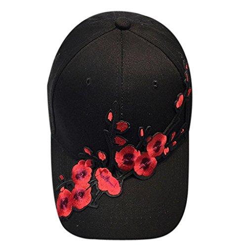 [Sinwo Unisex Couple Plum blossom Baseball Cap Unisex Snapback Hip Hop Flat Hat (Black)] (Water Blossom Ivy Type)