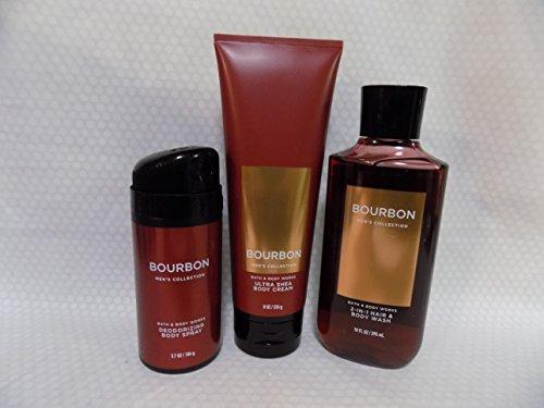 Bath and Body Works Bourbon - Three Piece Men's Collection 8 oz Body Cream, 3.7 oz Deodorizing Body Spray, 10 oz 2-IN-1 Hair and Body Wash