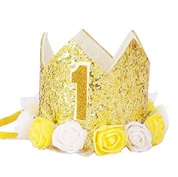 Corona de flores Diadema para los recien nacidos Corona de cumpleanos de oro de Numero de 1 ano de Estilo de princesa Sombrero de cumpleanos Accesorio ...