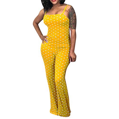 Cenglings Women Vintage Spaghetti Strap Sleeveless Polka Dot Printed Camis Jumpsuit Slim Fit Wide Leg Pants Beach Romper Yellow ()