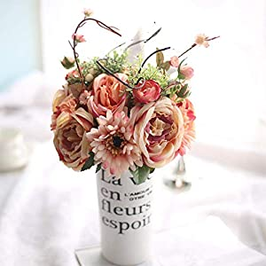 BEST LIV 1Set Fake Flowers Vintage Artificial Rose Silk Flowers Bouquet Wedding Home Decoration 63