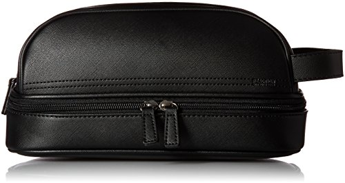 Kenneth Cole REACTION Men's Drop Bottom Travel Toiletry Bag Shaving Kit, Black