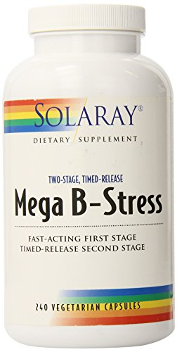 Solaray® Mega Vitamin B-Stress, Two-Stage Timed-Release | Specially Formulated w/B Complex Vitamins for Stress Support | Non-GMO | Vegan | 240 Tabs (Vitamin B-complex Formula)
