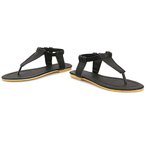 Nonbrand Women's flat slippers toe post t bar shoes summer sandals Black RHJzdh2c5