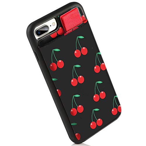 LAMEEKU iPhone 8 Plus Case, iPhone 7 Plus Wallet Case, Red Cherry Girls Women Cute Summer Fruits Leather Credit Card Slot Case, Protective Phone Cover for iPhone 8 Plus / 7 Plus 5.5 inch - Red Cherry