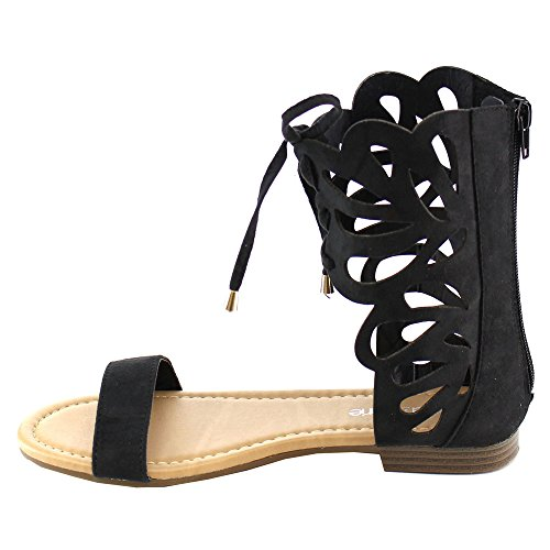 Bella Marie arie Fantacy-3 Women Lace Up Cut Out Ankle Cuff Zip Flat Gladiator Sandal Black NAz5ZLQ9Md