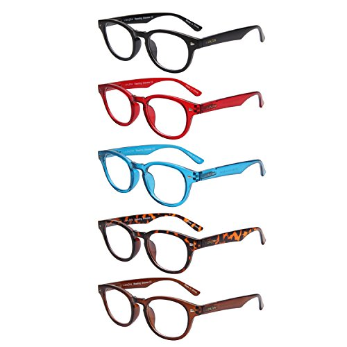 LianSan 5 Pairs Classic Readers Spring Hinged Round Reading Glasses for Men and Women - Mens Reading Glasses 2.50