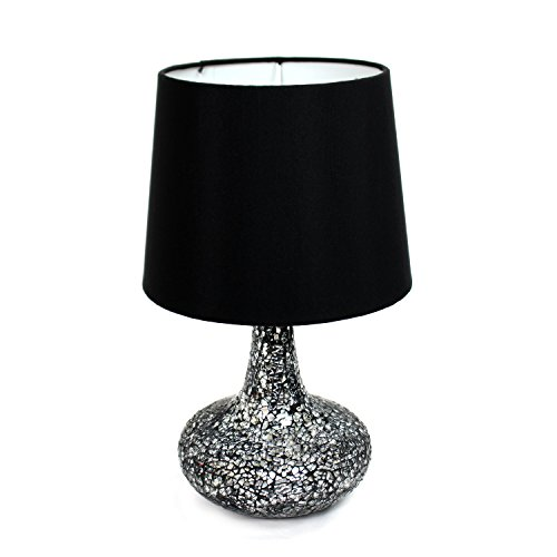 Table lamp black shade amazon simple designs lt3039 blk mosaic tiled glass genie table lamp with satin look fabric shade black mozeypictures Gallery