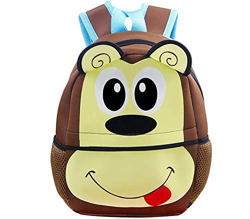 Kids Backpack | Fenrici | Boys | Girls | Toddler | Preschooler | Cute Animal Design (MONKEY BROWN)