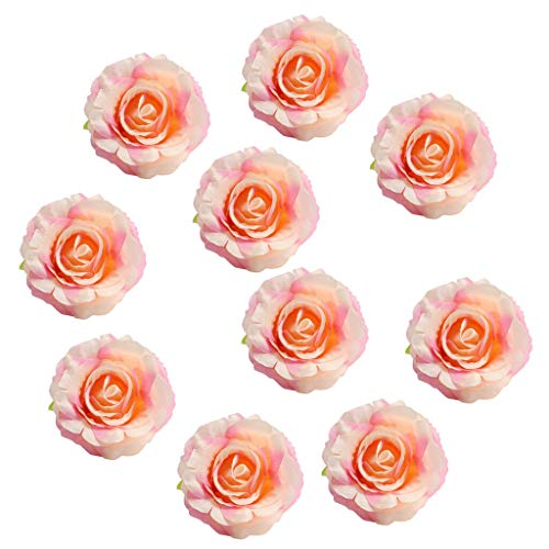 - BROSCO 10pcs Romantic Multi-Color Artificial Rose Flowers Heads Wedding Home Decor | Color - Pinkish Orange