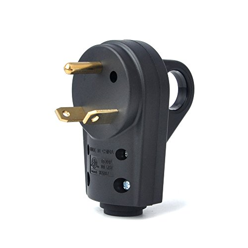 BougeRV 30 AMP RV Receptacle Plug Electrical Plug Adapter with Handle (Male Plug)