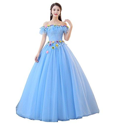 hanamaya ブルー 花付けロング丈 豪華 一字肩 演出服 結婚式ドレス レース ワンピース ふんわり ベルト付き 裏地ありお呼ばれ 二次会ドレス 小さいサイズ 大きいサイズあり (S) B07D78JWLL L