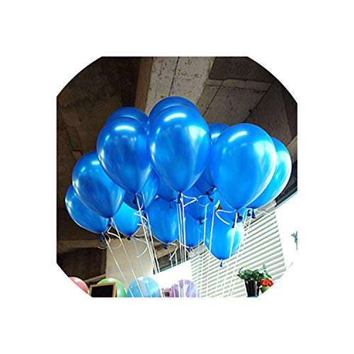 10Pcs 12Inch 2.2G Black Latex Balloons Helium Balloon Inflatable Wedding Decorations,A14 Blue Round,1.8G -