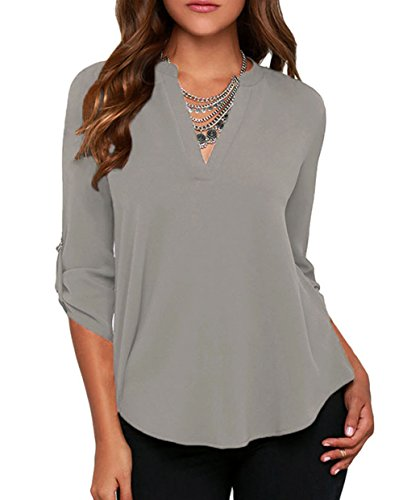 losrly-womens-3-4-long-sleeve-t-shirts-casual-work-blouse-office-top-12-14-large-grey