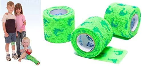 """Andover CO-Flex NL 2""""x5Yds Blue Dinosaurs on Neon Green 3-Pack Cohesive Flexible Elastic Latex Free Bandage Compression Self Adherent Wrap for Kids Children Animals Pets Cats Dogs Horses 5200DN 410syS2-lkL"""