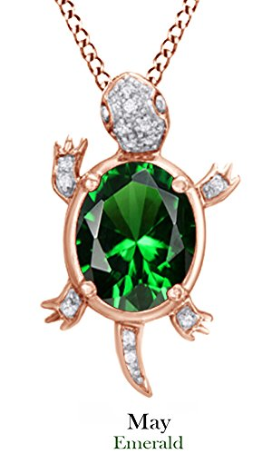 simulated-emerald-gemstone-natural-white-diamond-turtle-pendant-necklace-in-sterling-silver