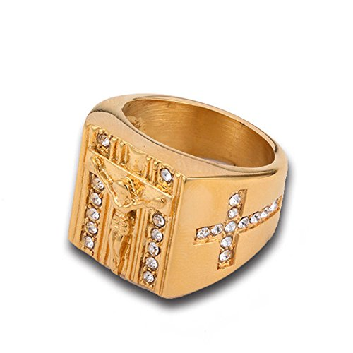 A.Yupha Vintage Punk Gold Plated Holy Cross Signet Ring Prayer Christian Jesus Rings CH (7)