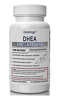 #1 DHEA By Superior Labs - 100% Natural, 100mg, 60 Vegetable Capsules - Made in USA, 100% Money Back Guarantee