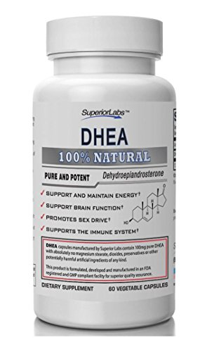 Superior Labs - Extra Strength Natural DHEA - Non-GMO 100 mg Dose, 60 Vegetable Capsules - Promotes Healthy Aging in Men & Women - Helps Restores Youthful Energy Levels