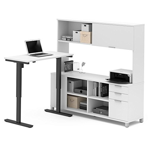 Pro Linea Adjustable Height L-Desk with Hutch Dimensions: 71.1