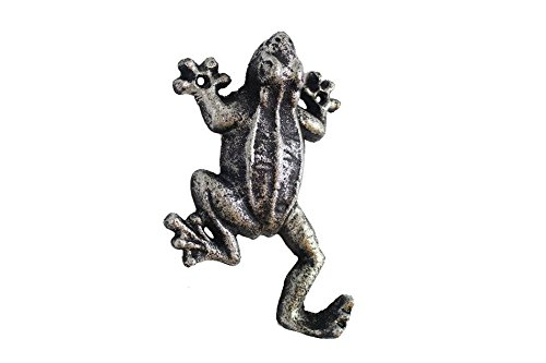 "Handcrafted Nautical Decor Rustic Silver Cast Iron Frog Hook 6"" - Rustic Wall Hook - Frog Decoration"